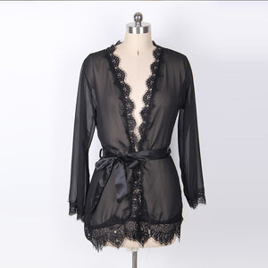 Lace Translucent Robe Set - LEPITON