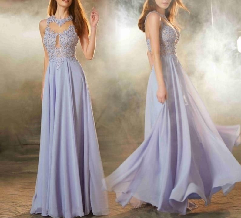 Lace Crystal Evening Dress - LEPITON