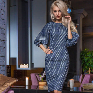 Novelty Dot Flare Sleeve Dress