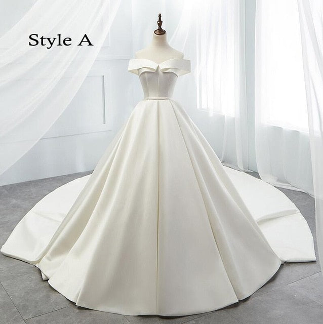 Boat Neck Vintage Wedding Dress