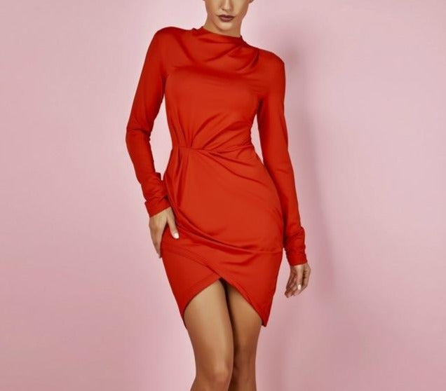 Turtleneck Ruched Long Sleeve Bodycon Dress - LEPITON