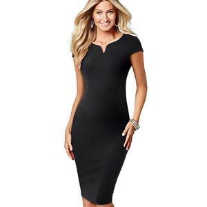 Elegant Solid Color V-neck Sheath Bodycon Dress