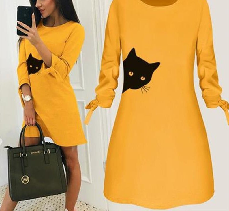 Cat Letters Round Neck Solid Colour Dress