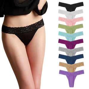 Elegant Lace Cotton Panties (10 Pcs/Pack)