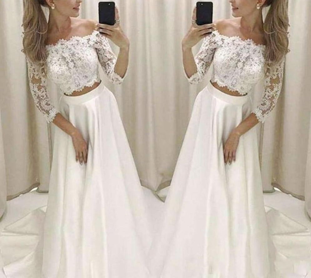 Two Piece Off The Shoulder Lace Jacket Satin Skirt Bridal Gown