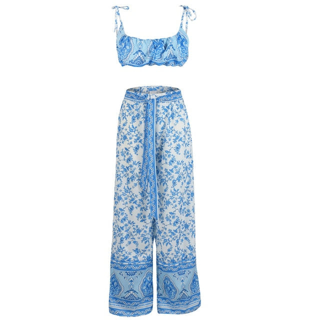 Boho Long Trousers and Crop Top Set