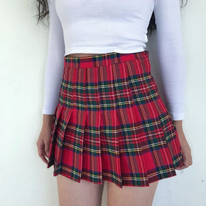 Plaid Pleated Skirt - LEPITON