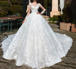 Glamorous Long Sleeve Lace Chapel Train A-Line Wedding Dress