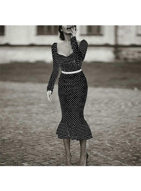 Elegant Polka-Dot Midi Dress