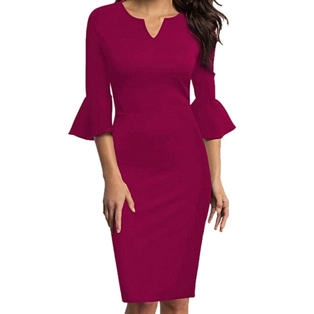 Elegant Pencil Flounce Bell Sleeve Dress - LEPITON
