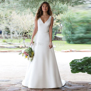 Satin A-Line V-Neck White Ivory Illusion Button Bridal Gown