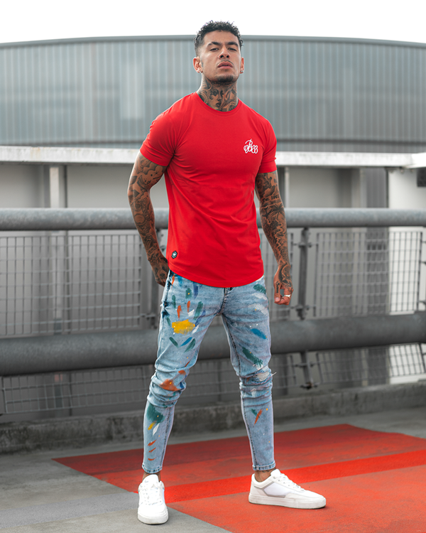 colour splash jeans with red tee