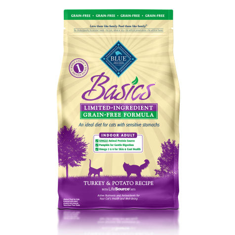 Blue Buffalo Basics Grain Free Adult Indoor Turkey & Potato Recipe Dry Cat Food