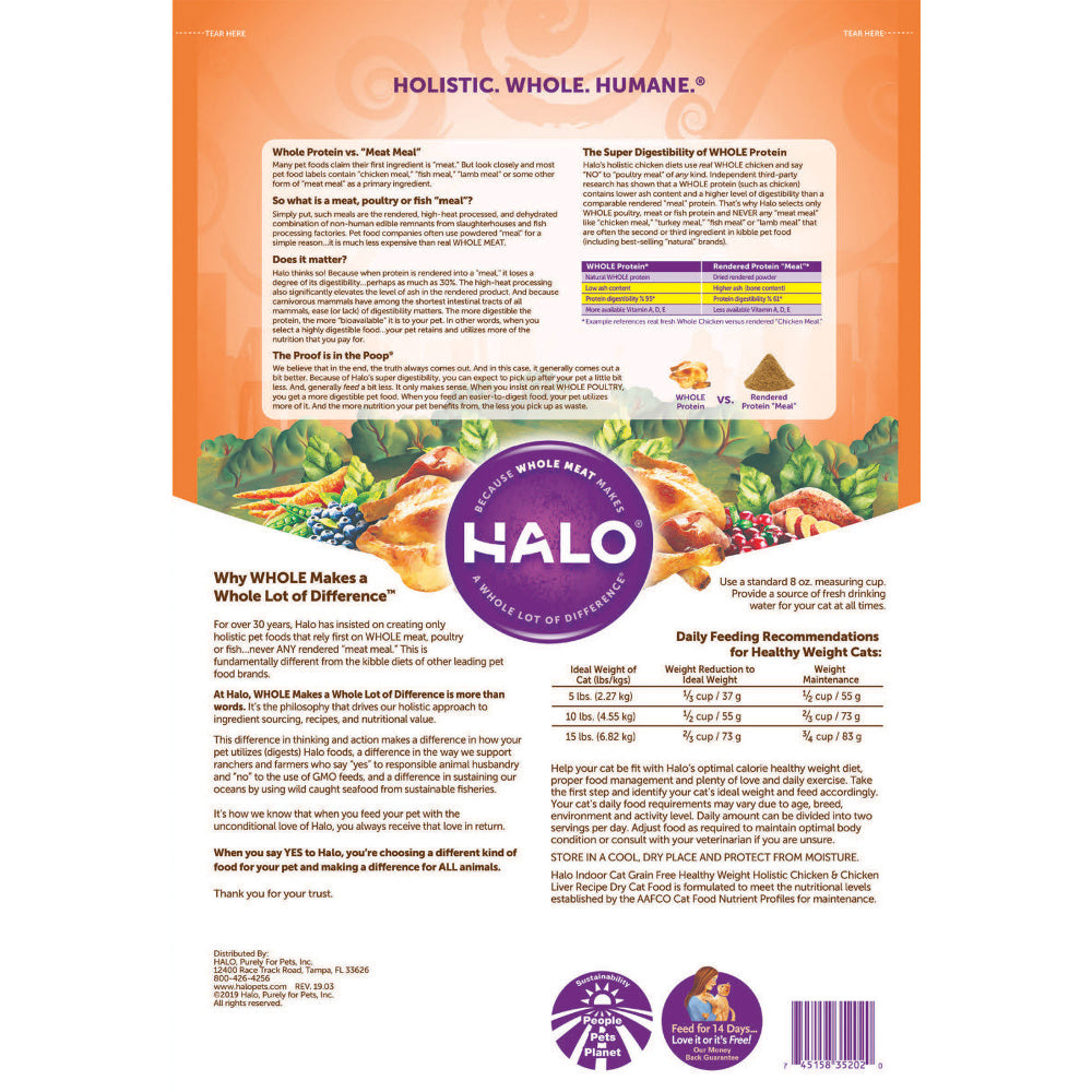Halo Indoor Grain Free Holistic Healthy Weight Chicken & Chicken Liver Recipe Dry Cat Food