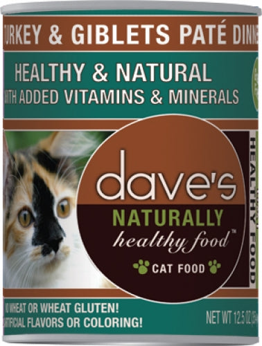 Dave's Naturally Healthy Turkey and Giblets Pate Dinner Canned Cat Food