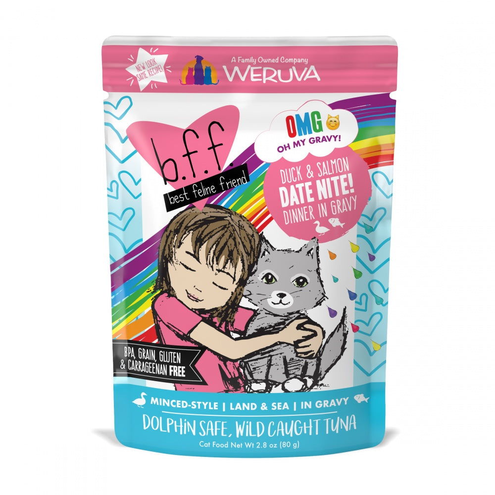 Weruva BFF Oh My Gravy Date Nite Grain Free Duck & Salmon in Gravy Wet Cat Food Pouch
