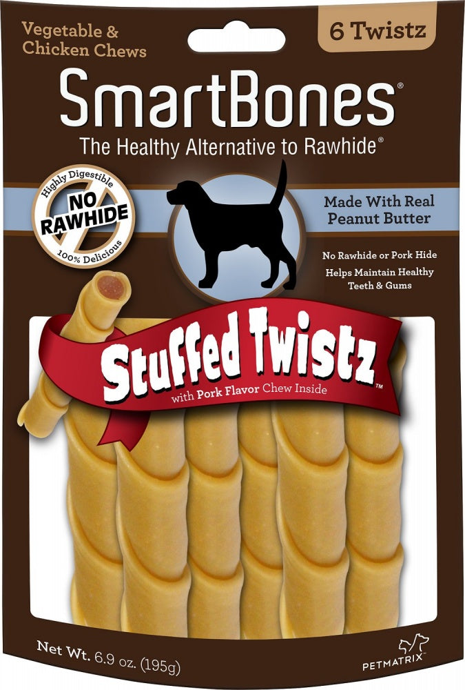 SmartBones Stuffed Twistz Peanut Butter Chew Dog Treats