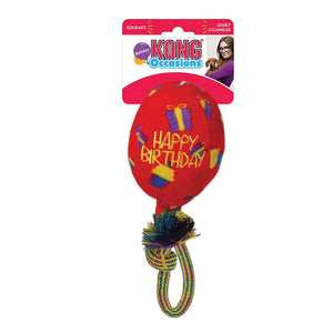 KONG Occasions Red Birthday Balloon Rope & Plush Dog Toy