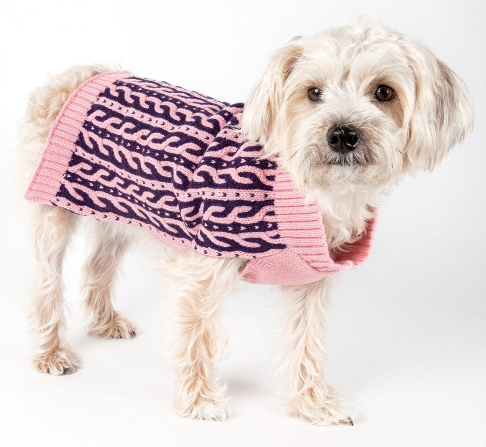 Pet Life Harmonious Dual Color Pink & Navy Blue Weaved Heavy Cable Knitted Dog Sweater