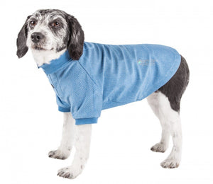 Pet Life Active Relax Stretch Fur Flexed Blue Polo T-Shirt