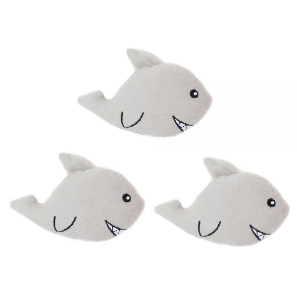 ZippyPaws Miniz Sharks 3-Pack Plush Dog Toys