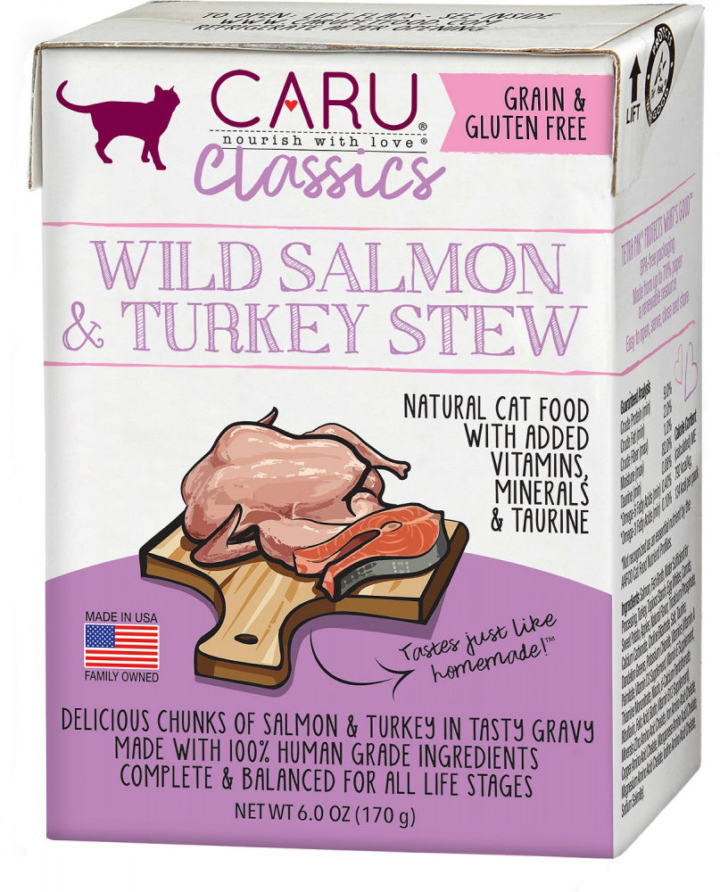 Caru Classic Grain Free Wild Salmon & Turkey Stew Recipe Wet Cat Food