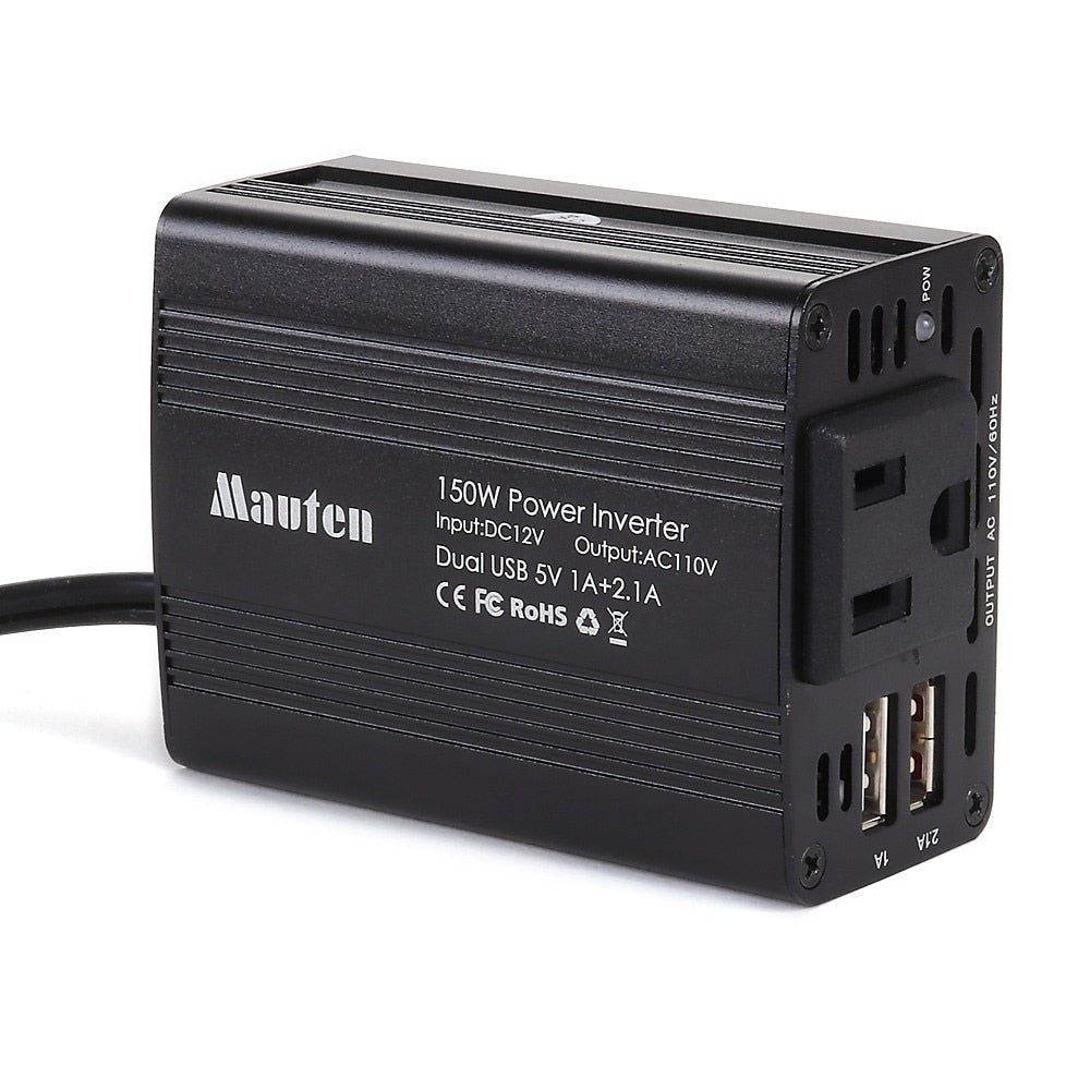 150W Car Power Inverter DC 12V to 110V AC Car USB Charging Ports