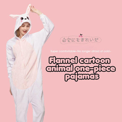 Flannel Cartoon Animal One-piece Pajamas