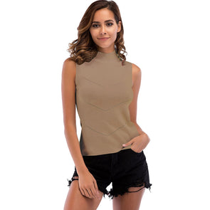 women Slim Neck Ribbed