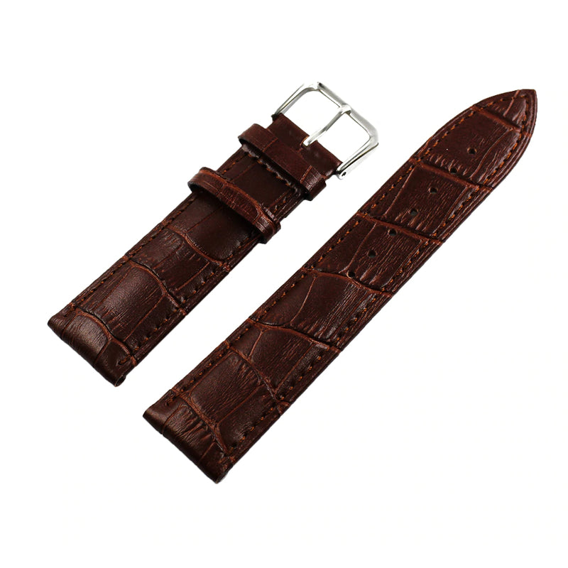 Bracelet En Cuir D'alligator Marron, Finition Semi-mate, Largeur 21 Mm, Longueur XS