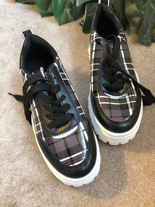 Black and white check chunky sole trainers