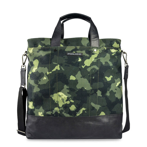 Police PT032010 Men's Briefcase Green Camouflage - Moda Designer Boutique