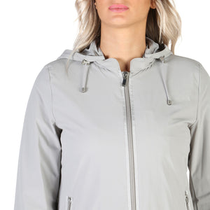 Geox Women's Jacket Front Zip Hooded Logo Gray - W7223ET2334 - Moda Designer Boutique