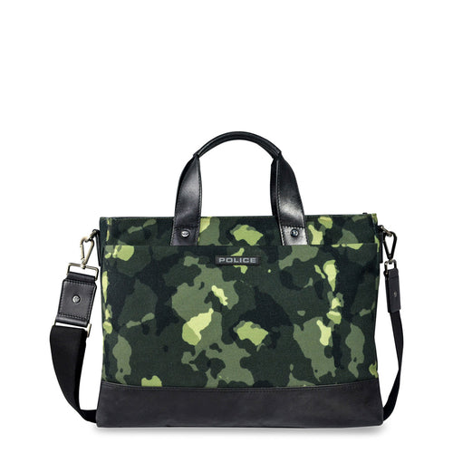Police PT032053 Men's Briefcase Green Camouflage - Moda Designer Boutique