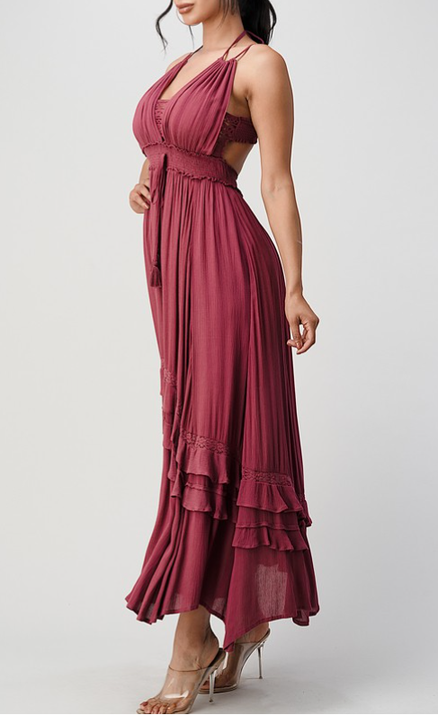 Lace-bodice maxi dress Plum