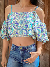 Load image into Gallery viewer, Copy of Cold shoulder crop top boho print