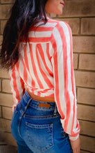 Load image into Gallery viewer, Red Trendy Striped Print V Neck Tie Long Sleeve Fitted Crop Blouse Top
