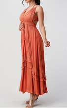 Load image into Gallery viewer, Lace-bodice maxi dress Rust