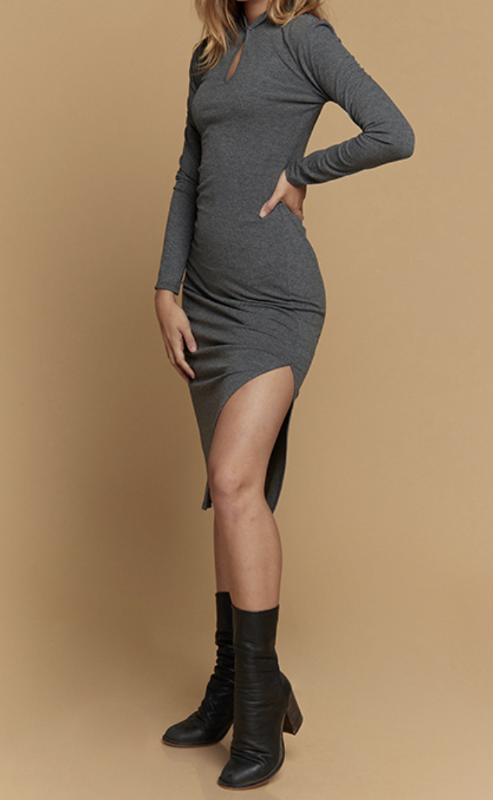 long sleeve charcoal dress midi