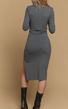 Load image into Gallery viewer, long sleeve charcoal dress midi
