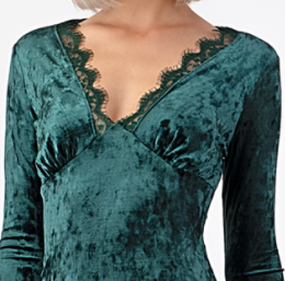 VELVET LACE TRIM MINI DRESS - GREEN - THE SUNDAY DRESS