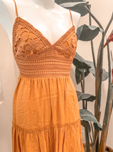 Load image into Gallery viewer, Crochet flowy yellow dress
