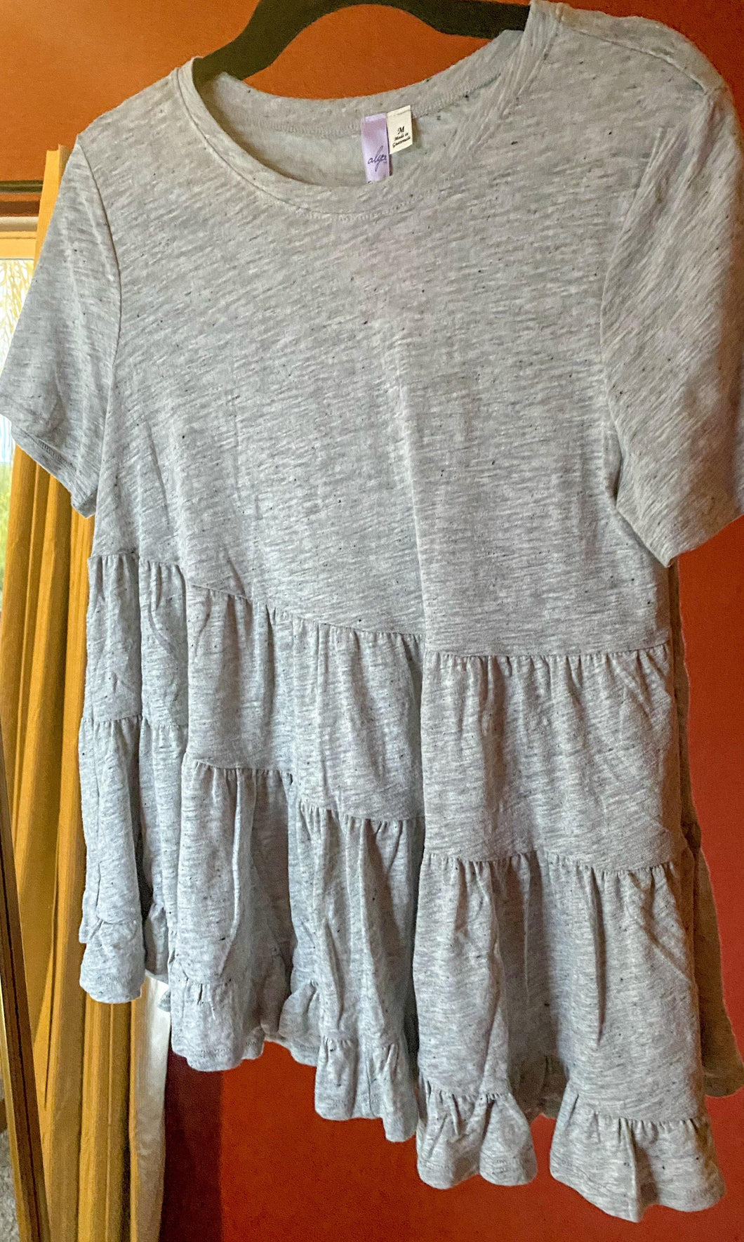 Tiered knit top grey - THE SUNDAY DRESS