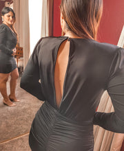 Load image into Gallery viewer, Open back ruched little black dress - THE SUNDAY DRESS