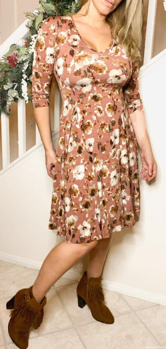 floral swing dress hits above knee