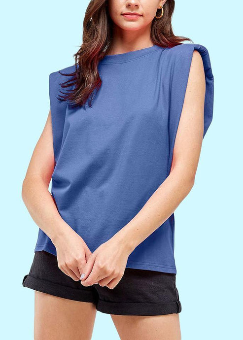 Padded shoulder muscle T-shirt Slate Blue - THE SUNDAY DRESS