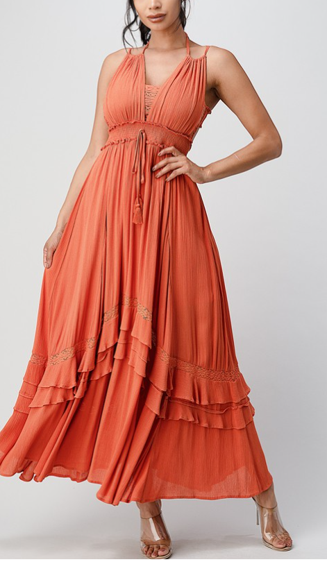 Lace-bodice maxi dress Rust