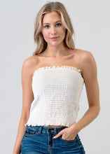 Load image into Gallery viewer, VELVET SMOCKING TUBE TOP - ECRU CREAM - THE SUNDAY DRESS