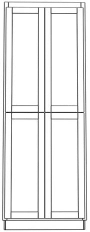 "Four Door Utility Cabinet 96"" High Countertop Depth Ogee"