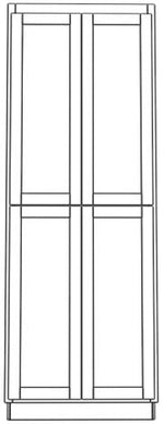 "Load image into Gallery viewer, Four Door Utility Cabinet 84"" High Vanity Depth Chamfer"